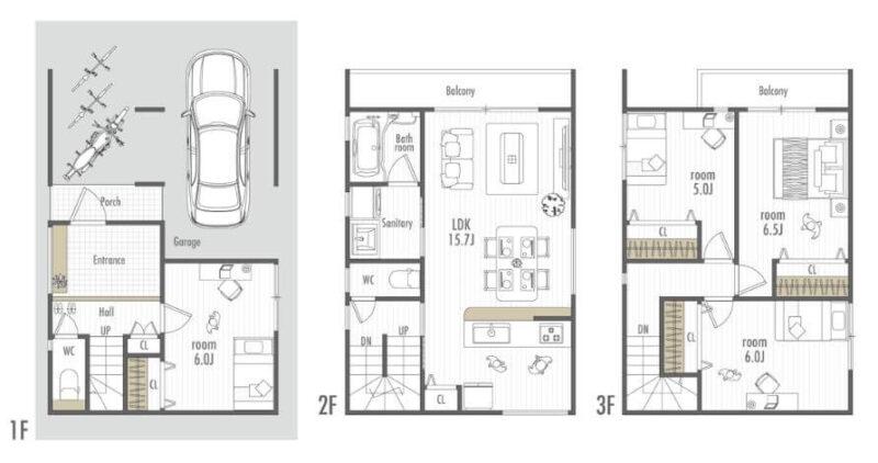 シンプルな箱型の家内覧画像1